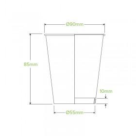 16oz Coffee Cup BioPlastic Single Wall WHITE - Fits Large Lids 600 pcs